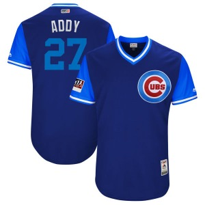 """Men's Majestic Chicago Cubs Addison Russell Light Blue """"ADDY"""" Royal/ 2018 Players' Weekend Flex Base Jersey - Authentic"""