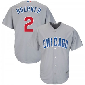 Youth Majestic Chicago Cubs Nico Hoerner Gray Cool Base Road Jersey - Replica