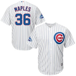 Youth Majestic Chicago Cubs Dillon Maples White Cool Base Home 2016 World Series Champions Patch Jersey - Authentic