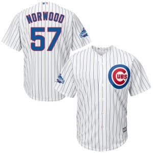 Youth Majestic Chicago Cubs James Norwood White Cool Base Home 2016 World Series Champions Patch Jersey - Authentic