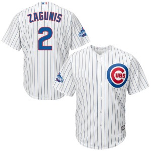 Youth Majestic Chicago Cubs Mark Zagunis White Cool Base Home 2016 World Series Champions Patch Jersey - Authentic